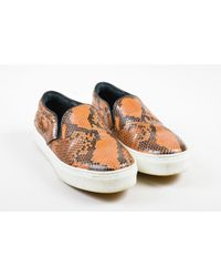 Céline - Orange Black Python Slip On Platform Sneakers - Lyst