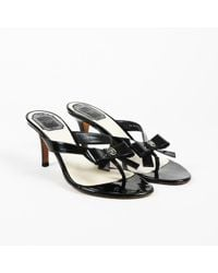 Dior - Patent Leather Bow Thong Sandals - Lyst