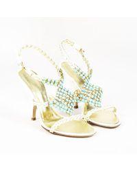 Giuseppe Zanotti - Cream Braided Patent Leather Embellished Sandals - Lyst