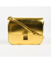 "Céline - Metallic Gold Leather Crossbody ""classic Box"" Shoulder Flap Bag - Lyst"