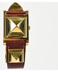 "Hermès - Vintage Red Leather Gold Plated Studded ""medor"" Watch - Lyst"