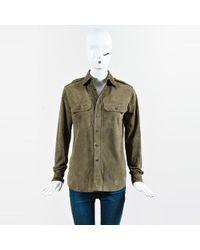 Ralph Lauren Black Label - Olive Goat Suede Button Up Shirt - Lyst