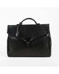 Bottega Veneta - Black Intrecciato Leather Top Handle Briefcase - Lyst