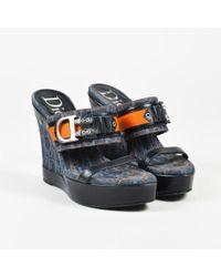 Dior - Blue Black & Orange Denim & Leather D Buckle Wedge Sandals Sz 37.5 - Lyst