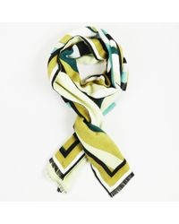 Emilio Pucci - Multicolour Angora Silk & Wool Abstract Print Fringed Scarf - Lyst