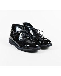 Alaïa - Black Patent Leather Flower Applique Lace Up Chukka Boots Sz 38.5 - Lyst