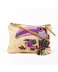 Jamin Puech - Brown Canvas Parrot Embellished Bag - Lyst