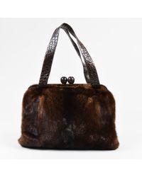 Nancy Gonzalez - Brown Mink Fur Crocodile Skin & Suede Top Handle Frame Bag - Lyst