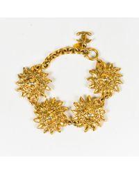 Chanel - Gold Tone Metal Lion Head Sunburst Chain Link Bracelet - Lyst