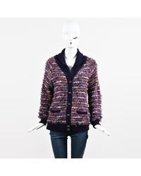 Peter Som - Metallic Purple & Multicolor Textured Knit Button Up Cardigan Sweater - Lyst