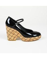 200672b208b45 Chanel - Black   Beige Patent Leather Cork Wedge Quilted Platform Pumps -  Lyst