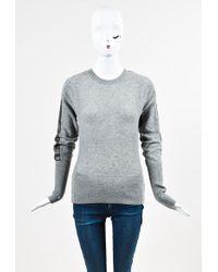 Reed Krakoff - Grey Cashmere Open Knit Leather Trim Ls Jumper - Lyst