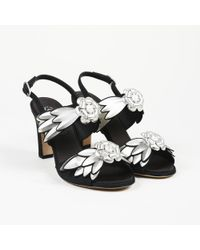 """Chanel - """"camellia"""" Silver Black Leather Slingback Sandals - Lyst"""