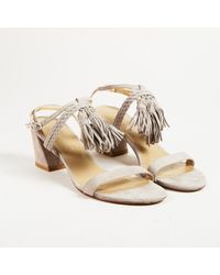 Stuart Weitzman - Gray Suede Braided Strap Fringed Open Toe Sandals - Lyst