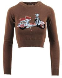 N°21 - Brown Multicolour Wool Cropped Sequined Moped Jumper - Lyst
