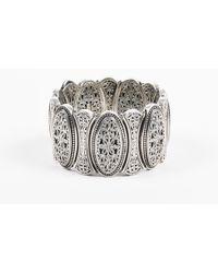 Konstantino - Sterling Silver Filigree Etched Wide Oval Link Bracelet - Lyst