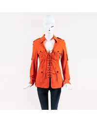Strenesse - Orange Lamb Suede Multi Pocket Lace Up Jacket - Lyst