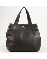 "Chanel - Brown ""caviar"" Leather Gold Tone 'cc' Satchel Bag - Lyst"