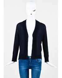 Nicole Farhi Navy Blue Knit Pleated Trim Button Down Cardigan