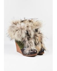 Etro - Brown Green Leather Woollen Fur Trim Wedge Heel Lace Up Boots - Lyst