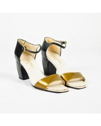 Chanel - Black & Gold Patent Leather Open Toe Heeled Sandals - Lyst