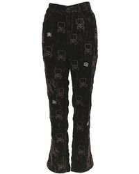 Jupe by Jackie Brown Velvet Embroidered Skull Trousers