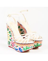 Charlotte Olympia - Beige Multicolour Embroidered Celebration Meredith Sandal - Lyst