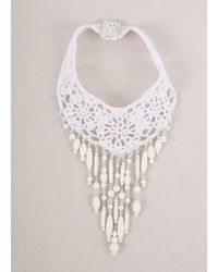 Jean Paul Gaultier - New With Tags White Crochet Knit Beaded Statement Chocker Necklace - Lyst