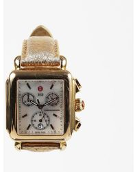 """Michele - Gold Plated Mother Of Pearl Leather """"deco"""" Chronograph Watch W/ 7 Straps - Lyst"""