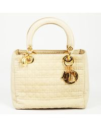 "Dior Vintage ""lady Dior"" Cannage Quilted Nylon Handbag - Natural"