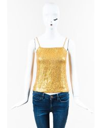 Gianfranco Ferré - Metallic Gold Silk Blend Sequined Camisole Top - Lyst