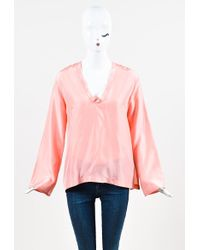 Giada Forte - Nwt Light Coral Pink Silk V Neck Long Sleeve Tunic Blouse Top - Lyst