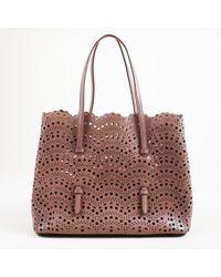 Alaïa - Purple Leather Lasercut Top Handle Tote Bag - Lyst