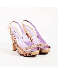 Manolo Blahnik - Purple Snakeskin Wooden Slingback Pumps - Lyst