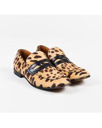 Céline - Tan Brown Pony Hair Black Leather Leopard Print Loafers - Lyst