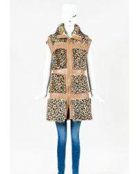 ESCADA | Brown Leather Sheep Fur Animal Printed Zip Vest | Lyst