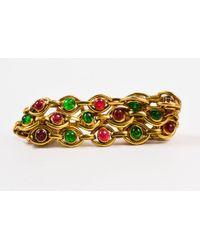 Chanel - Vintage Gold Tone Pink Green Gripoix Stone Multi Strand Link Bracelet - Lyst