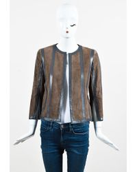 Akris - Brown Suede & Grey Leather Panelled Jacket - Lyst
