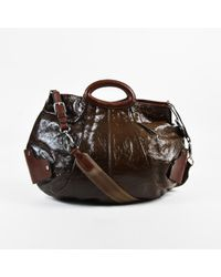 Marni - Green & Brown Balloon Crinkled Patent Leather Pleated Shoulder Bag - Lyst