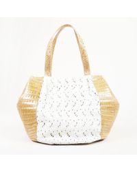 Nancy Gonzalez - Beige & White Crocodile Skin Eyelet Embroidered Tote Bag - Lyst