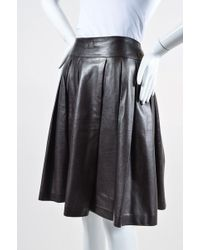 Chanel - 01a Burgundy Brown Leather Pleated A Line Skirt - Lyst