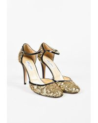 """Jimmy Choo - Metallic Gold & Black Patent Leather Sequined """"tessa"""" Court Shoes - Lyst"""