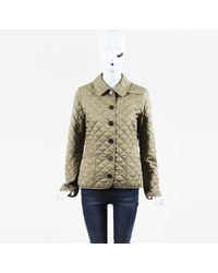 Burberry Brit - Brown Cotton Blend Quilted Jacket - Lyst