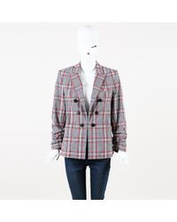 Veronica Beard - Plaid Cotton Blend Double Breasted Blazer - Lyst