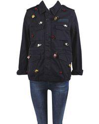 Tu Es Mon Tresor - Blue Multicolor 'the End' Rose Embellished Field Jacket - Lyst