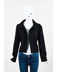 Marni - Black Wool Bow Tie Cropped Long Sleeve Jacket - Lyst