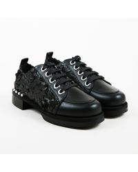 Greymer - Nwot Black Leather Faux Pearl Embellished Lace Up Campari Oxford - Lyst