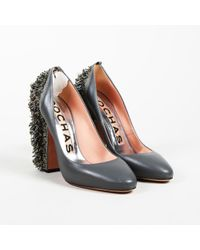 Rochas - Grey Leather Beaded Sequin Court Shoes - Lyst