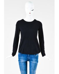 360sweater - Black Wool Cashmere Leather Panel Ls Pullover Sweater - Lyst
