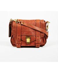 """Proenza Schouler - Brown Calfskin Leather Mini Top Handle """"ps1"""" Satchel Bag - Lyst"""